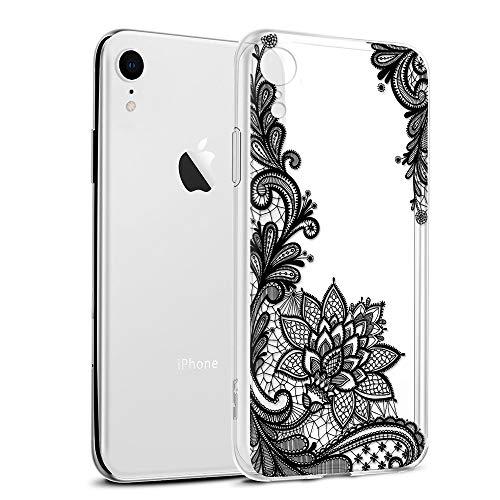 Eouine iPhone XR Hülle, Schutzhülle Silikon Transparent mit Muster Motiv Handyhülle [Ultra Dünn] Slim Stoßfest Weich TPU Bumper Case Backcover für iPhone XR 6,1 Zoll Smartphone (Schwarze Blume)