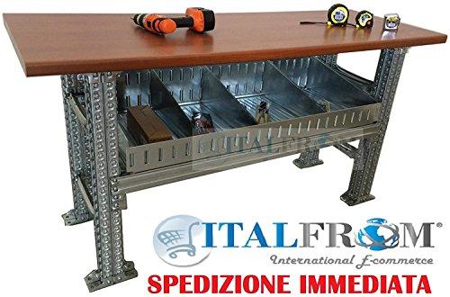ITALFROM Banco Arbeitsplatte, Robust, 150 x 60 x 100 cm, mit Ablagekörbchen