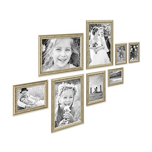 PHOTOLINI 8er Bilderrahmen-Set Antik Silber Nostalgie 10x15 bis 21x30 cm Fotorahmen mit...