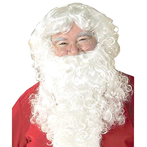 Mufly Weihnachtsmann Bart und Perücke Weiß Nikolaus Kostüm Weihnachten Karneval - Vater Zu Werden Kostüm