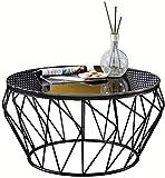 SUNBAOBAO Esstisch, Modern Runde Couchtisch aus Glas mit Möbeln, Schwarz,60CM