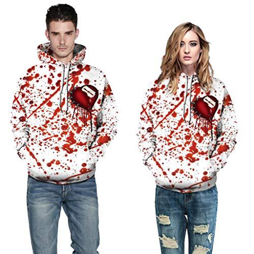 wawer  Sweatshirt Halloween 3D Gedruckter Kapuzenpullover mit Langen Ärmeln für Männer/Frauen -