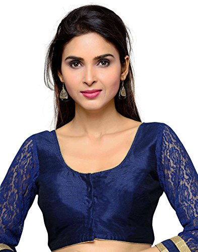 Studio Shringaar Navy Blue Faux Silk Lace Sleeves Blouse (Size - 36)