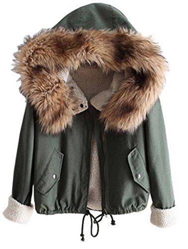 Sevenelks Damen Mädchen Winterjacke Jacke Mantel mit Kapuze Grün