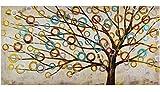 KunstLoft Acryl Gemälde 'Herbstblues' 140x70cm | original handgemalte Leinwand Bilder XXL | Abstrakter Lebensbaum auf Beige Beige Braun | Wandbild Acrylbild einteilig mit Rahmen