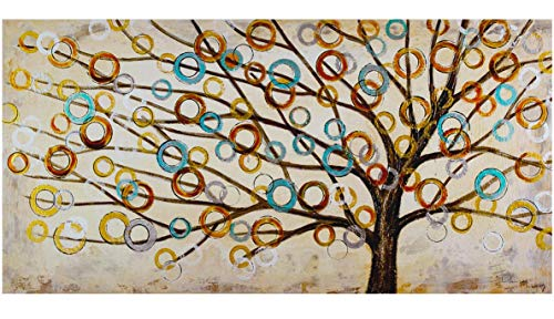 KunstLoft Acryl Gemälde 'Herbstblues' 140x70cm | handgemalte Leinwand Bilder XXL | Abstrakter Baum des Lebens Natur Braun auf Beige für Küche Schlafzimmer | Wandbild Acrylbild Moderne Kunst einteilig
