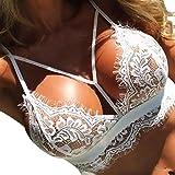 GreatestPAK Underwear Damen Dessous Korsett Spitzen Blumen Bralette Bralet BH Tank Cami Crop Unterwäsche, Schwarz, Weiß (XL, Weiß)