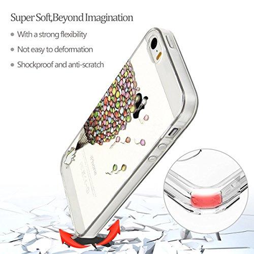 Coque iPhone 5S, Etui Coque TPU Slim Housse Cover avec Motif Cheval Arc en Ciel Bumper pour Apple iPhone 5 / 5S / SE (4.0 pouces) Souple Housse de Protection Flexible Soft Case Cas Couverture Anti Cho Ballon