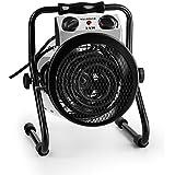 Waldbeck Strato • calefactor industrial eléctrico • calefactor ventilador • 2000 W • para invernaderos • circulación de aire de 210 m³/h • 2 modos de funcionamiento • adecuado para habitaciones húmedas • IPX4 • asa de transporte • plateado-negro
