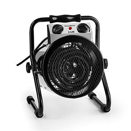 Waldbeck-Strato-Calefactor-Industrial-elctrico-Calefactor-Ventilador-2000-W-invernaderos-circulacin-de-Aire-de-210-mh-2-Modos-de-Funcionamiento-IPX4-asa-de-Transporte-Plateado-Negro