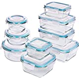 Utopia Kitchen [18-stukken] Glazen Voedselopslag Containers met deksels - Glazen Maaltijden Prep Containers met Transparante Deksels BPA Vrij en FDA Goedgekeurd (9 Containers en 9 Deksels)