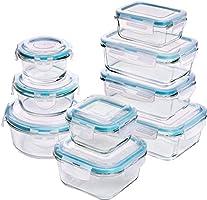 Utopia Kitchen [18-stukken] Glazen Voedselopslag Containers met deksels - Glazen Maaltijden Prep Containers met...