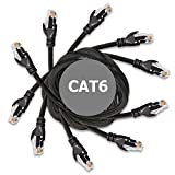 Ethernet Cable - 10FT Heavy Duty Cat6 E Cord (5-pack / Black) with Professional Grade Copper + RJ45 Gold Plating & DynaCable® U.S. Warranty for Full-Bandwidth Networking (up to 10-Gigabit)