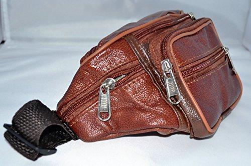 Riñonera de piel de color cuero muy completa y de gran calidad (Cuero))