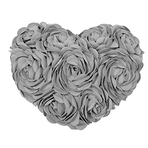 KINGROSE Hecho a Mano 3D Rosas Flores Decorativos Almohadas Ante Algodón Lona...