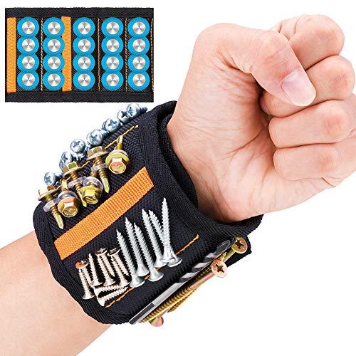 JTENG Bracelet Magnétique Réglable avec 20 Aimants Super Puissants et 2 Poches Profondes Bracelet...
