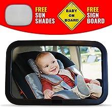 Premium bebé coche Espejo, seguro, extra grande espejo para posterior del bebé asiento. Fácil de instalar, totalmente ajustable y función de inclinación con Bono sol tonos y señal de bebé a bordo