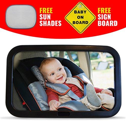 Premium- Baby- Auto-Spiegel , Safe, Extra Large Spiegel für Rear -Baby-Sitz gegenüber . Einfach, Voll einstellbare und Kippfunktion mit BONUS -Farbtöne und Baby an Bord Zeichen installieren