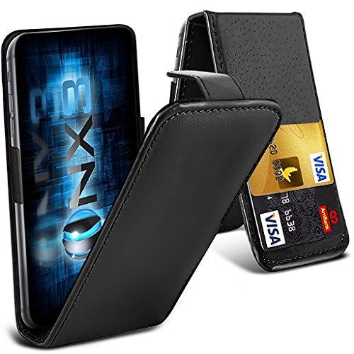 ONX3 (Schwarz) LG Volt 3 LS755 Universal-Luxuxart Folding PU-Leder Federklemmhalter Top-Schlag-Fall mit 2-Karten-Slot, nach oben und unten Kamera