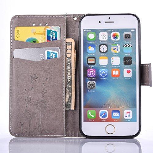 PU für Apple iPhone 6 Plus (5.5 Zoll) Hülle,Löwenzahn Handyhülle / Tasche / Cover / Case für das Apple iPhone 6 Plus (5.5 Zoll) PU Leder Flip Cover Leder Hülle Kunstleder Folio Schutzhülle Wallet Tasc 6