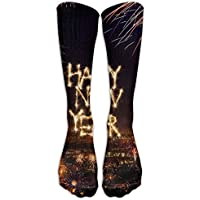 pigyear888 Long Dress Socks Cotton Happy New Year Firework Soccer Comfortable Breathable Over-the-Calf Tube