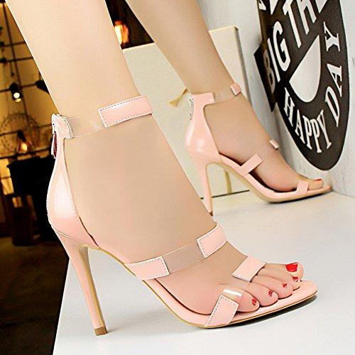 LGK&FA Un Simple Bouton Percé Orteil DUn Amende Rome Tous-Match Female High-Heeled Sandals 36 Pink