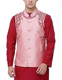 Svanik Pink Rayon Blend Embroidered Ethnic Jacket
