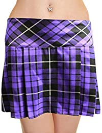 14 Inch Women's Sexy Pleated Tartan Skirt Schoolgirl Fancy Dress Costume (Purple)