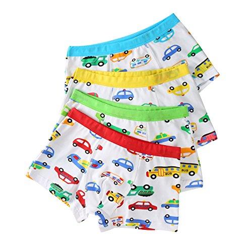 Baby Kinder Jungen Boxershorts Unterhosen Kids Unterwäsche Baumwolle 4 Stück (4-6 Jahre, Auto)