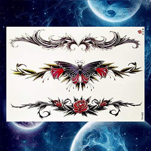 3-arm-tulip (3 STÜCKE Schwarz Tulip Totem Tattoos Aufkleber Frauen Körper Taille Arm Kunst Armband Tattoos Temporäre Mädchen Schmetterling Tatoos Rose Ketten)