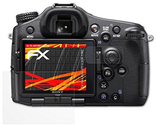 Sony Alpha a77 II (ILCA-77M2) Displayschutzfolie - 3er Set atFoliX FX-Antireflex-HD hochauflösende...