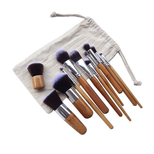 King Love Star 7 Pcs/Set Pinceaux à maquillage Poignée en bambou Brosse à lèvres Brosse à lèvres Pinceis De Maquiagem + Sac + Sponge Puff Gratin