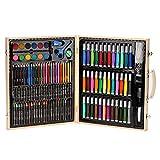 Dkings Set da 150 Pezzi Deluxe, Set da Disegno e Pittura per artisti, Forniture artistiche con Custodia in Legno, Kit di Arte Professionale per Bambini, Ragazzi e Adulti