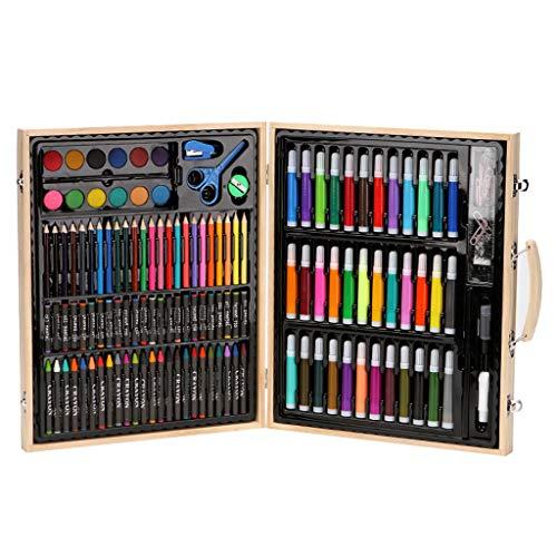 Dkings Juego de Arte Deluxe de 150 Piezas, Juego de Dibujo y Pintura para Artistas, Suministros de Arte con Estuche de Madera, Kit de Arte Profesional para niños, Adolescentes y Adultos