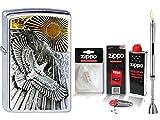 Zippo Feuerzeug Eagle Sun Fly Emblem & Zubehör XL + Stabfeuerzeug Chrome Brushed