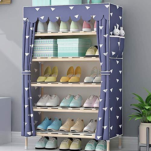 Shoe rack scarpiera_6 strati 18 paia di scarpe, armadio scarpiera multifunzionale in legno massello assemblato antipolvere in tessuto, una varietà di stili tra cui scegliere