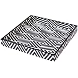 Scrafts Black & White Diamond Lines Big Square Wooden Tray/Decorative Wooden Tray For Table Décor/Home Décor/Wooden Serving Tray/ Platter/ Wooden Platter/ Wooden Kitchen Tray/Dessert Tray/Size: LBH(Inches)=12x12x1.5