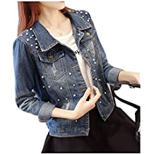 CYSTYLE Damen Übergroße Jeansjacke Übergangsjacke Jacke Denim Slim Stil ... ae192e8126