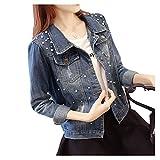 Cystyle Damen Übergroße Jeansjacke Übergangsjacke Jacke Denim Slim Stil mit Perle (EU XL=Asia 3XL)