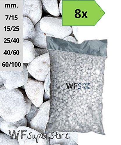 WUEFFE S.R.L. Ciottoli di Marmo Bianco Carrara - 8 Sacchi da 25 kg - Sassi Pietre Giardino (40/60)