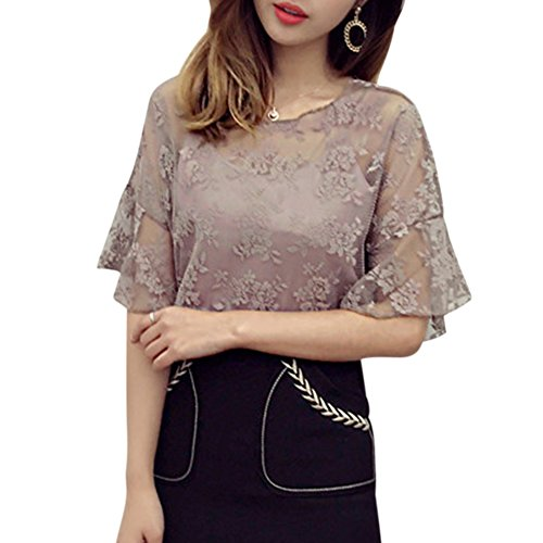 Yalatan Women O-Neck Tops Crochet Lace Two-piece Short Sleeve Chiffon Blouse Khaki