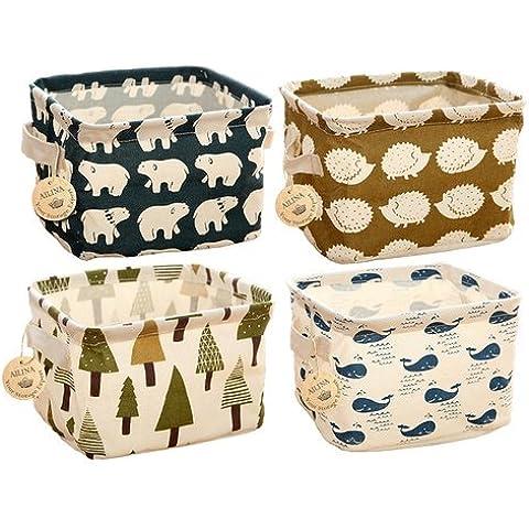 Ailina piccolo Lino Organizer Set (Beige, Grigio, Rosa, Blu), Organizer con 2Manici in tessuto su entrambi i lati, 20,5x 17x 15cm–set di 4 Animals