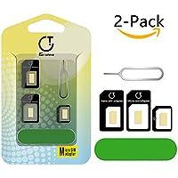 Adattatore Sim Card, Gratein 2 Pezzi Adattatore Kit Convertitore 5 in 1 per Carte SIM (Nano / Micro / Standard) con Sander Bar e Vassoio Aperta Ago (Nero)