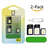Sim Card Adapter,Gratein 2-Pack Pure-color Accurate 5in1 Nano Sim Card Adapter Kit Converter to Micro/Standard With Sander Bar and Tray Open Needle