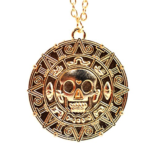 Pirates of the Caribbean Aztec Münze Medallion Halskette mit Totenkopf-Anhänger Fancy Dress