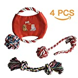 #9: Dog Chew Toys - Set of 4 High Quality Puppy Chewable Playing Toys - Natural Cotton Rope - Dog Balls - Flying Disc