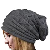VJGOAL Damen Caps, Damen Weiche Strick Winter warme Wolle häkeln Beanie Caps Gefaltete gefütterte Hüte Weihnachtsgeburtstagsgeschenke