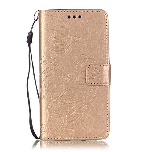 Prägen Blumen-Case, Magnetverschluss Synthetische PU-Leder-Kasten-Abdeckung mit hängenden Seil und Wallet-Funktion für WIKO RAINBOW LITE ( Color : Pink , Size : WIKO RAINBOW LITE ) Gold