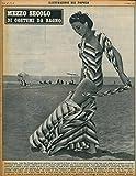 Mezzo secolo di costumi da bagno. Spiaggia di Ostia: Andry Mac Donald, indossatrice americana di una sartoria di Roma, si sfila la gonna di popeline a righe viola, verdi e gialle che fa completo col