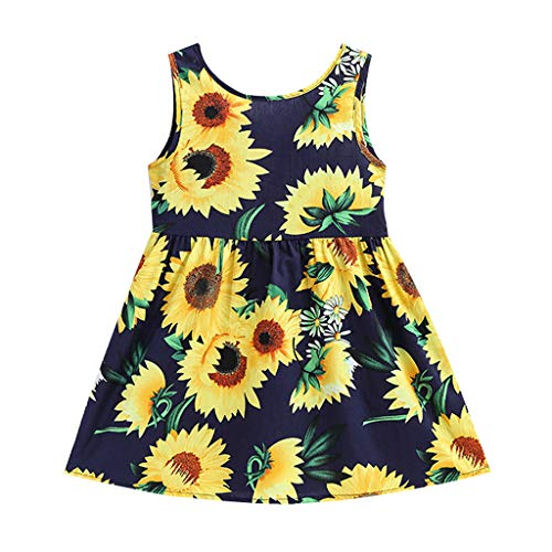 YWLINK Kleinkind Baby RüCkenfrei Enge Taille Sonnenblumen Rock Kinder MäDchen ÄRmellos Prinzessin Kleider(Marine,4-5 ()
